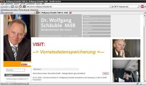 Wolfgang Schäubles Homepage. Gehacked.