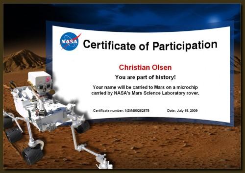 Endlich hat der Herr Olsen auch mel ein Zertifikat.