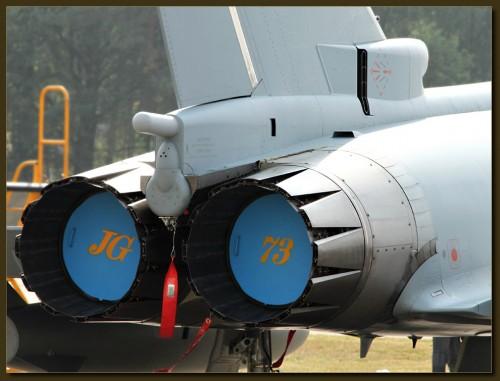 Schubvektorsteuerung des Eurofighter. Verkorkt, damit die Ratten nicht drin übernachten.