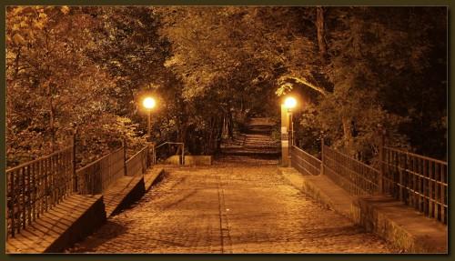 """""""Napoleonsbrücke"""" bei Müngsten - in Natriumdampflicht gehüllt."""